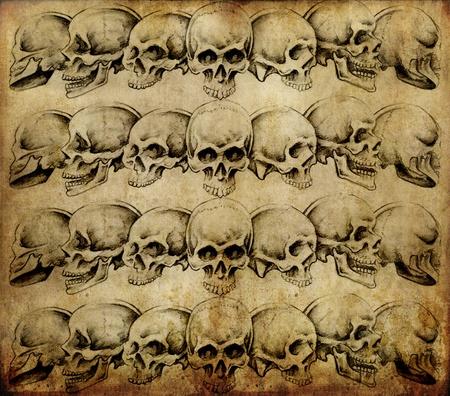 Tattoo art, skulls over old paper photo