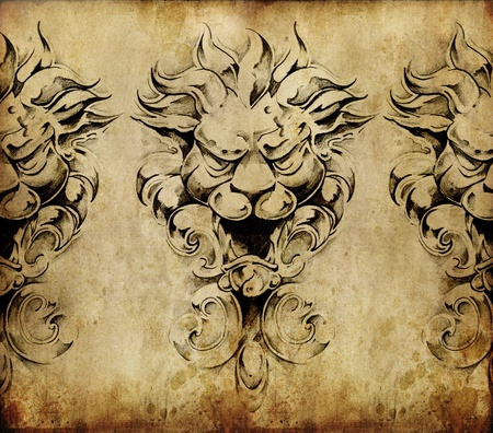 Tattoo art, sketch of a gargoyle over vintage background Stock Photo - 10425453