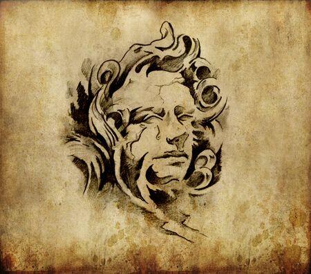 Tattoo art, sketch of a classic head Stock Photo