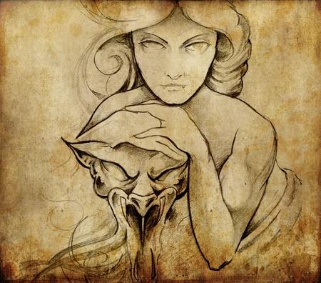 Tattoo art, sketch of mistic woman photo