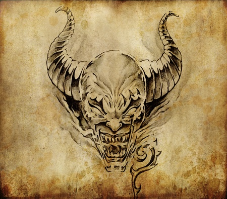 Tattoo art, sketch of a devil over vintage background Stock Photo - 10425450