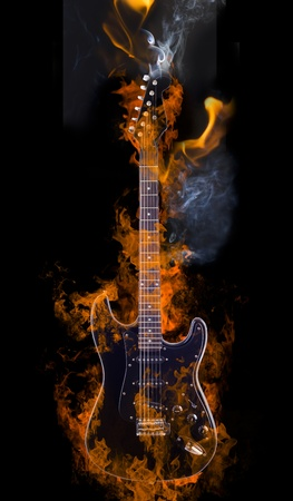 Burning Electric Guitar photo