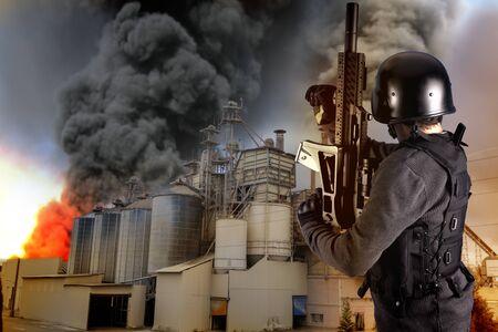 Industry security, armed police wearing bulletproof vests photo