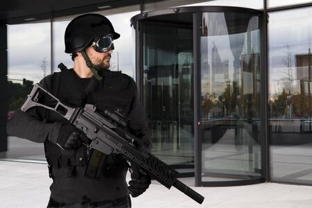 Military defending a business building photo