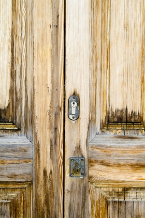 Closeup wood door with textured material photo
