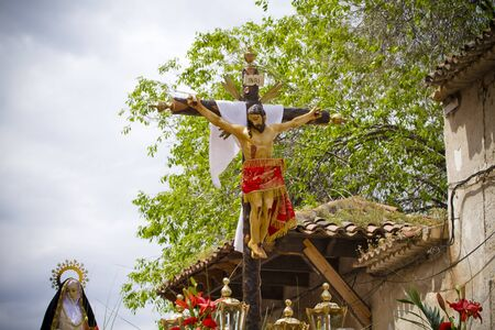 penitence: typical spanish easter celebration procession of the christ of medinaceli