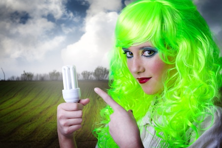 ecologic: recycling green fairy girl ecologic in nature Stock Photo