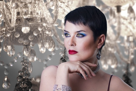 glamorous stylish short haired woman with jewellery Stock Photo - 12597750