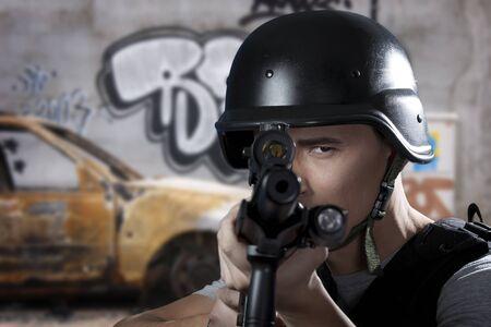 gun room: Swat soldier , armed