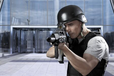 Military defending a business building Stock Photo - 12597919
