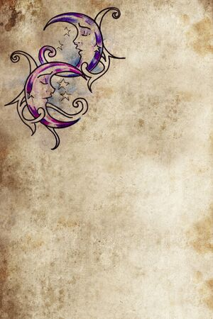 Tattoo art, drawing on old paper dream moon Stock Photo - 12598040