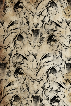 Tattoo pattern with gargoyle designs over old paper photo