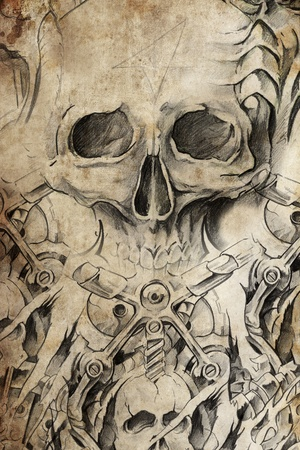Tattoo design with skull on antique paper photo