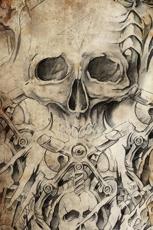 skull tattoo: Tattoo design with skull on antique paper Stock Photo