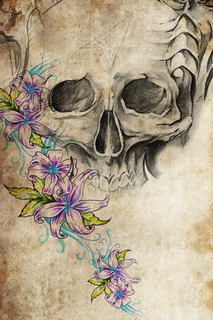 tattoo art: Tattoo design with skull with flowers on old paper