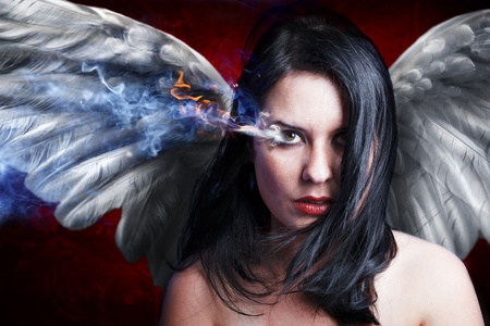 beautiful anger, concept image with a beautiful girl photo