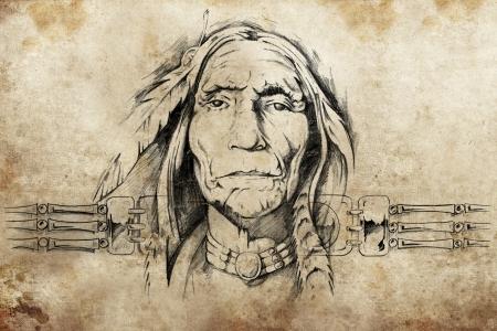 indian tattoo: sketch of American Indian elder, tattoo