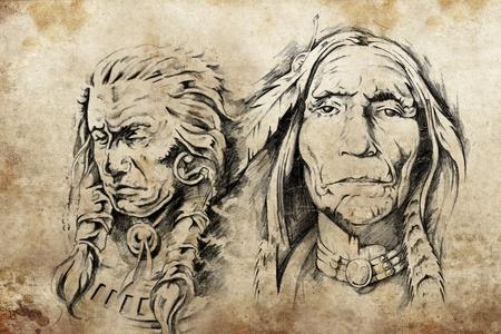 guerriero indiano: Schizzo Tattoo di American anziani indiana, disegno Archivio Fotografico