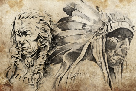 american curl: Tattoo sketch of American Indian warriors, hand made Stock Photo