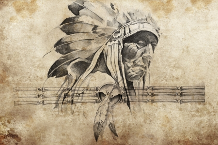 american curl: Tattoo sketch of American Indian tribal chief warrior