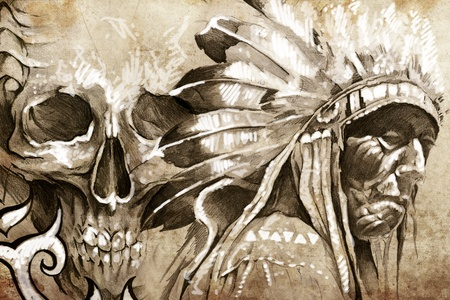 Tattoo sketch of American Indian tribal chief with skull