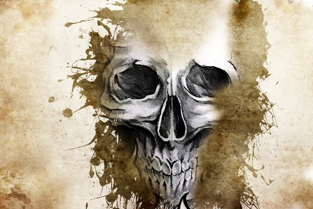 tribal woman: Tattoo evil design with skull over antique paper