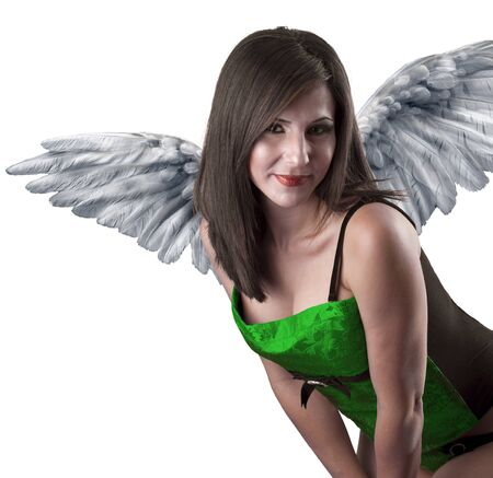 Closeup portrait of beautiful girl with white feathers, angel Stock Photo - 13027992