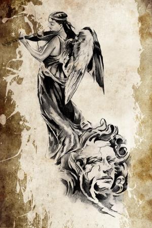 angel illustration: Tattoo angel playing the violins over vintage paper