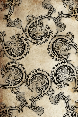 dragon tattoo: Tattoo pattern with gargoyle designs over vintage paper