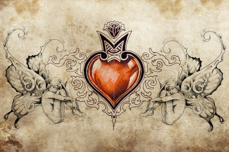 Tattoo art design, heart with two nymphs Standard-Bild