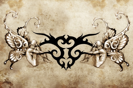 Tattoo art design, tribal with two nymphs over vintage paper Stock Photo - 13028712