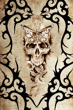 Tattoo art design, death decorated with tribal forms over antique paper photo