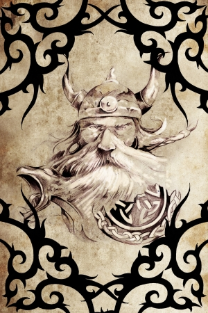 Tattoo art design, viking warrior decorated with tribal artworks over vintage paper Stock Photo - 13028708