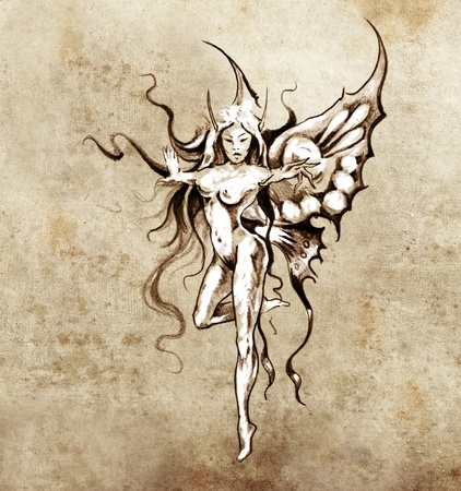 Sketch of tattoo art, fairy butterfly photo
