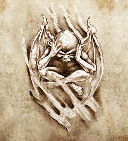 Schets van tattoo kunst, woede monster Stockfoto