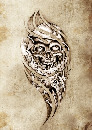 Sketch of tattoo art, monster with eight ball photo