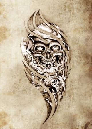 eight ball: Sketch of tattoo art, monster with eight ball