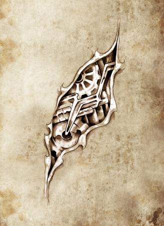 Sketch of tattoo art, machine under skin surface photo