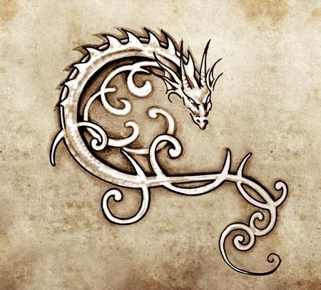tatouage fleur: Croquis de l'art du tatouage, dragon d�coratif