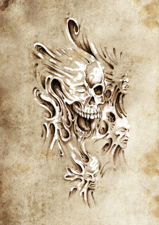 Sketch of tattoo art, monster heads under skin photo