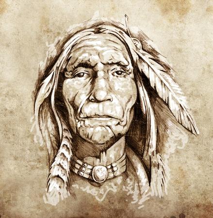 indio americano: Boceto de arte del tatuaje, el retrato de la cabeza de los indios americanos