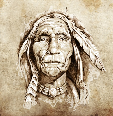 Sketch of tattoo art, portrait of american indian head photo