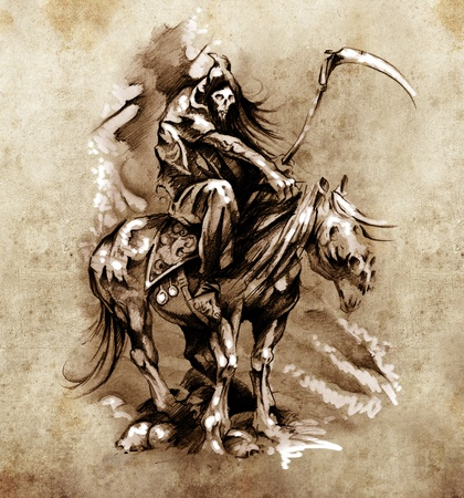 Sketch of tattoo art, medieval warrior with horse photo