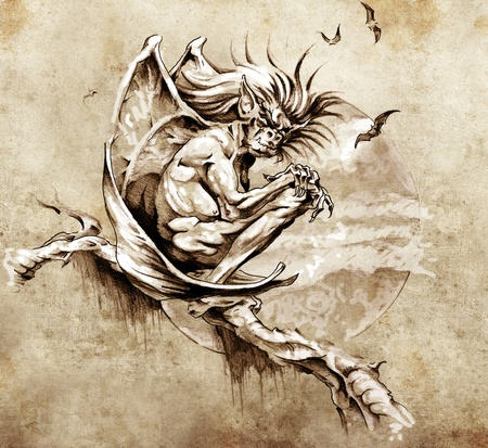 gargouille: Croquis de l'art du tatouage, monstre gargouille assis dans un arbre
