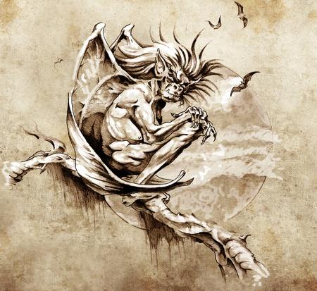 Schets van tattoo art, gargoyle monster in een boom zitten Stockfoto