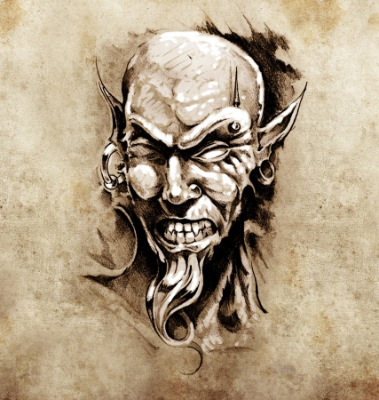 piercing: Sketch of tattoo art, devil head with piercing Stock Photo