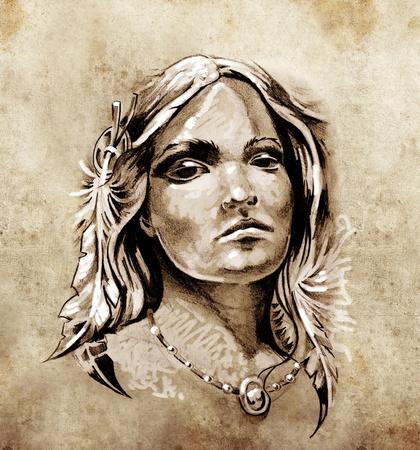 hadas caricatura: Boceto de arte del tatuaje, preciosa y apasionada mirada de una tienda de la niña india de América