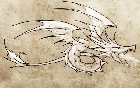 Sketch of tattoo art, dragon line drawing Stock Photo - 13028247