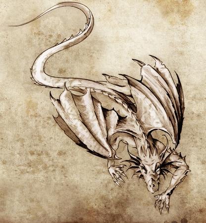 Schets van tattoo kunst, moderne draak