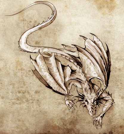 paper flying: Sketch of tattoo art, modern dragon Stock Photo